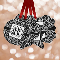 Monogrammed Damask Metal Ornaments - Double Sided