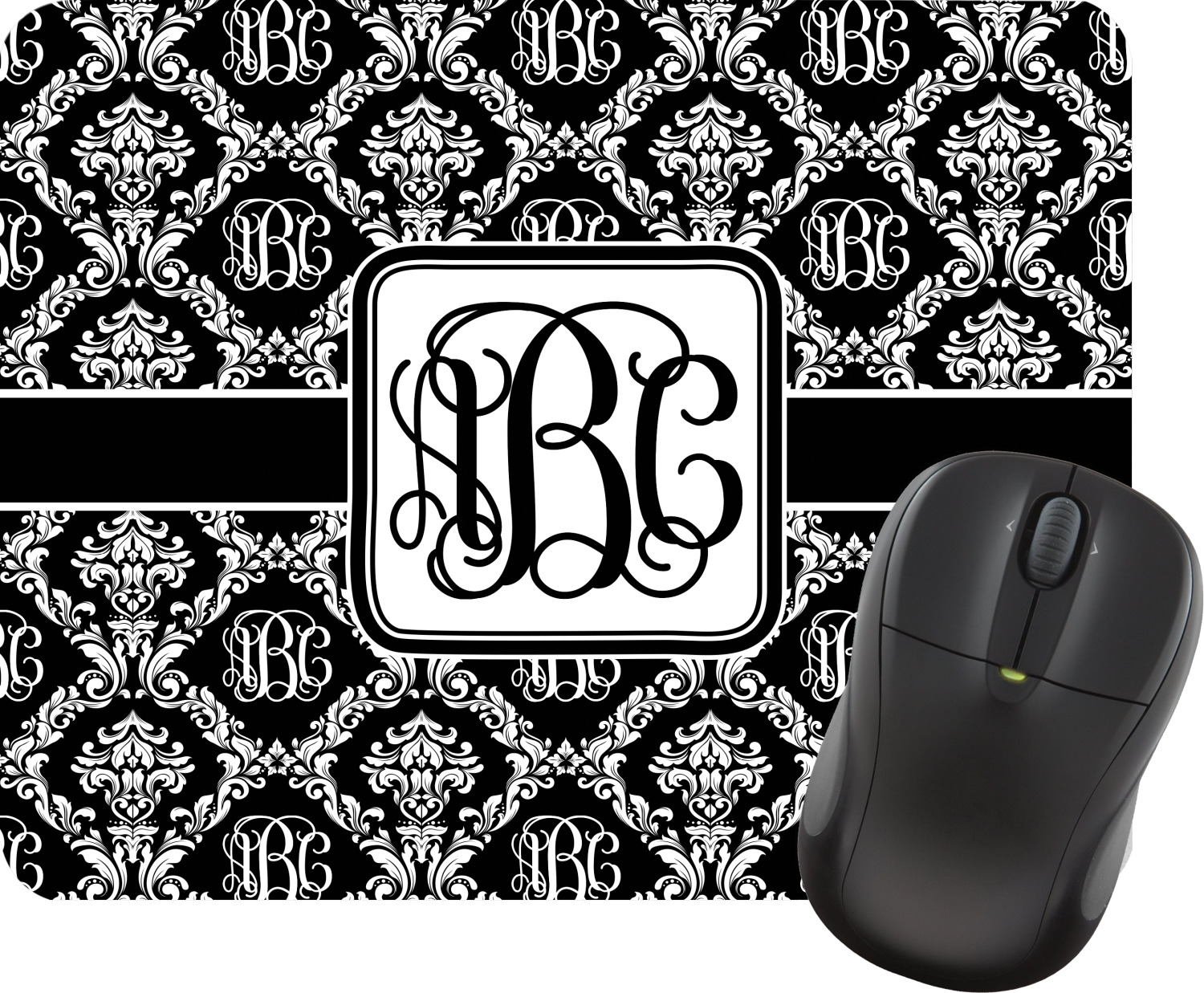 monogrammed damask mouse pad  personalized