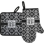 Monogrammed Damask Oven Mitt & Pot Holder (Personalized)