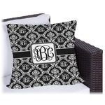 Monogrammed Damask Outdoor Pillow (Personalized)