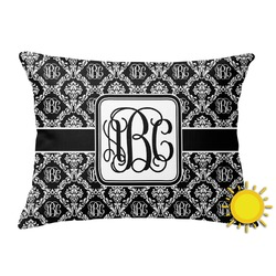 Monogrammed Damask Outdoor Throw Pillow (Rectangular) (Personalized)