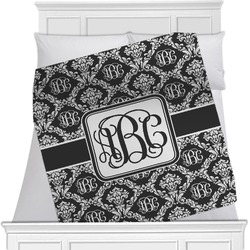 "Monogrammed Damask Fleece Blanket - Twin / Full - 80""x60"" - Double Sided (Personalized)"