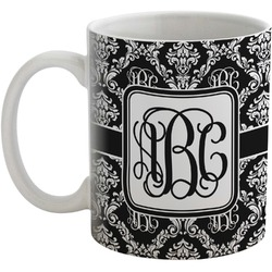 Monogrammed Damask Coffee Mug (Personalized)