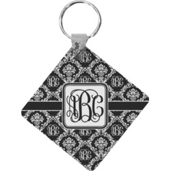 Monogrammed Damask Diamond Key Chain (Personalized)