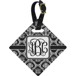 Monogrammed Damask Diamond Luggage Tag (Personalized)
