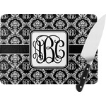 Monogrammed Damask Rectangular Glass Cutting Board (Personalized)