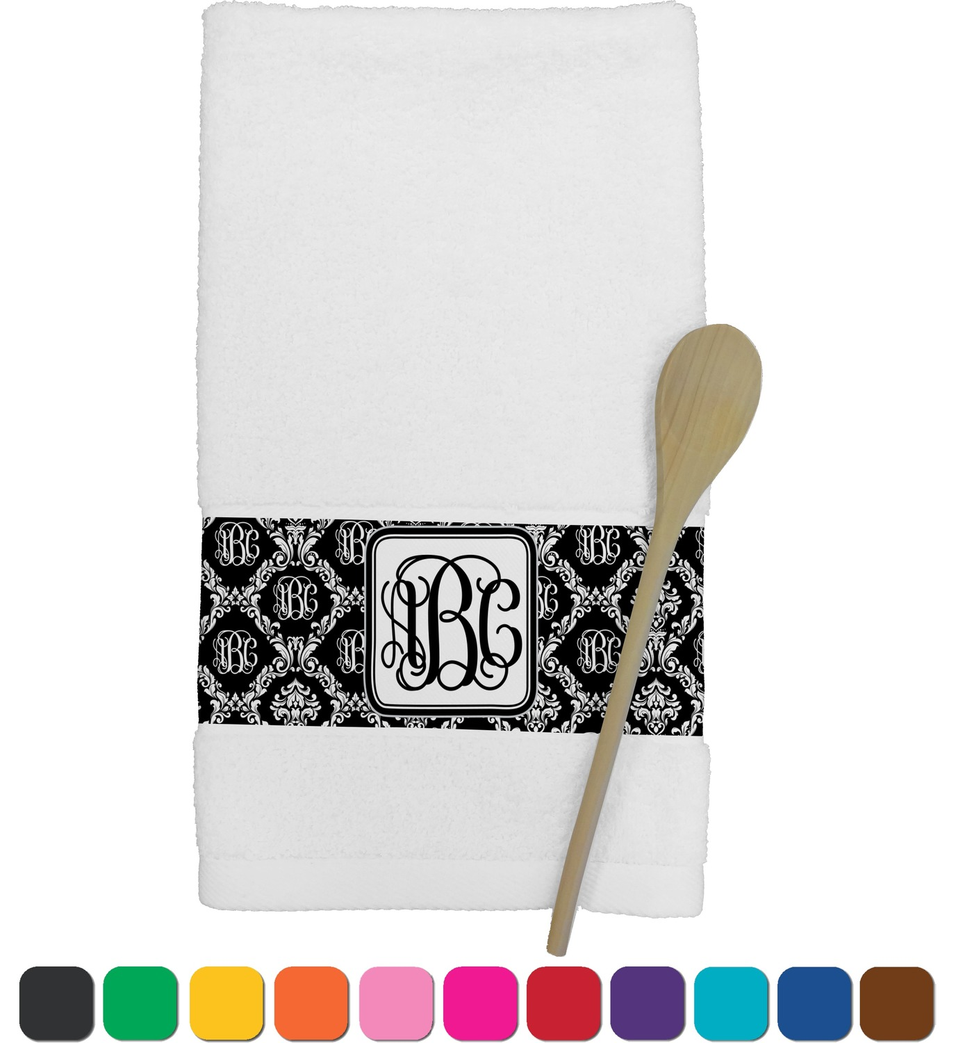 Monogrammed Damask Kitchen Towel Personalized Youcustomizeit