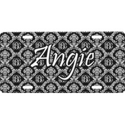 Monogrammed Damask Front License Plate (Personalized)
