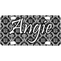 Monogrammed Damask Mini / Bicycle License Plate (4 Holes)