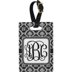 Monogrammed Damask Plastic Luggage Tag - Rectangular