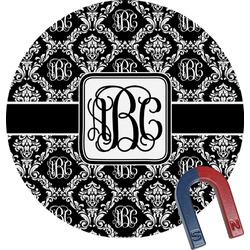 Monogrammed Damask Round Fridge Magnet