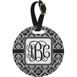 Monogrammed Damask Round Luggage Tag (Personalized)