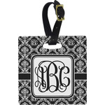 Monogrammed Damask Plastic Luggage Tag - Square