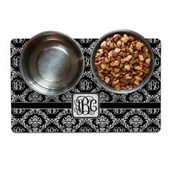 Monogrammed Damask Dog Food Mat (Personalized)