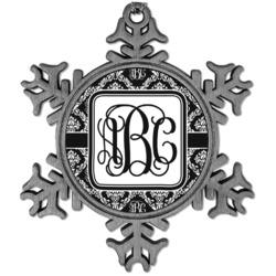 Monogrammed Damask Vintage Snowflake Ornament