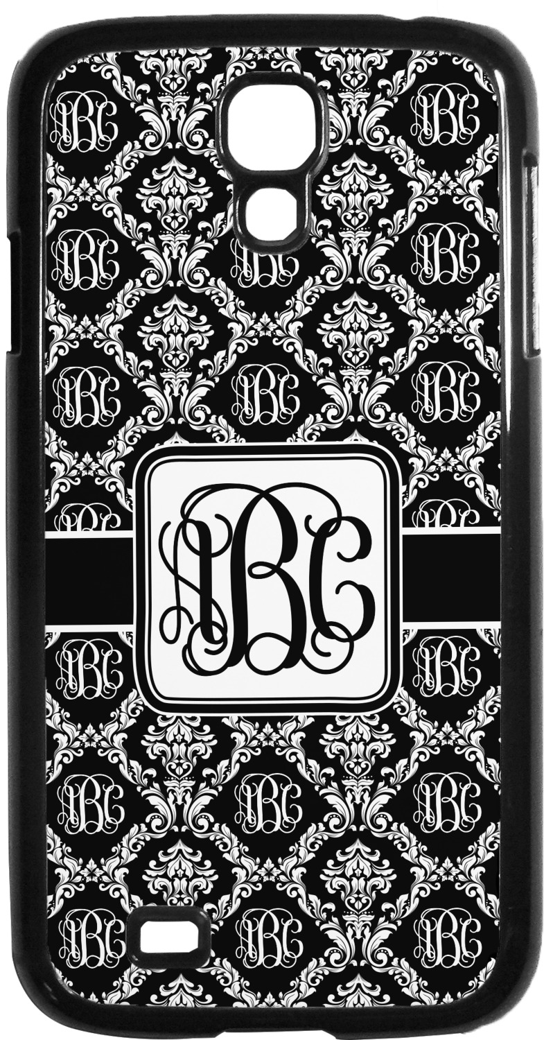 monogrammed damask plastic samsung galaxy 4 phone case  personalized
