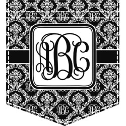 Monogrammed Damask Iron On Faux Pocket (Personalized)