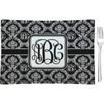 Monogrammed Damask Glass Rectangular Appetizer / Dessert Plate - Single or Set (Personalized)