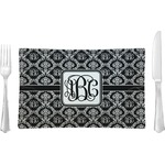 Monogrammed Damask Glass Rectangular Lunch / Dinner Plate - Single or Set (Personalized)