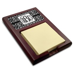 Monogrammed Damask Red Mahogany Sticky Note Holder (Personalized)