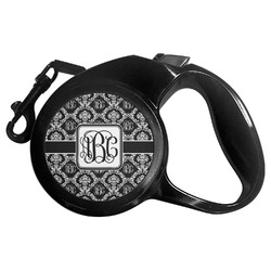 Monogrammed Damask Retractable Dog Leash - Multiple Sizes (Personalized)