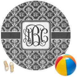 Monogrammed Damask Round Beach Towel (Personalized)