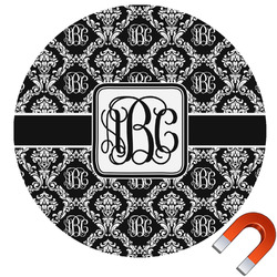 Monogrammed Damask Round Car Magnet (Personalized)