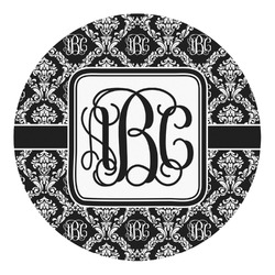 Monogrammed Damask Round Decal - Custom Size (Personalized)