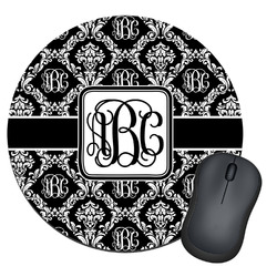 Monogrammed Damask Round Mouse Pad (Personalized)