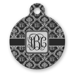 Monogrammed Damask Round Pet ID Tag