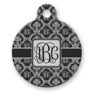 Monogrammed Damask Round Pet Tag (Personalized)