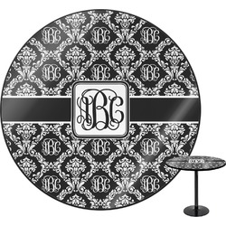 Monogrammed Damask Round Table (Personalized)