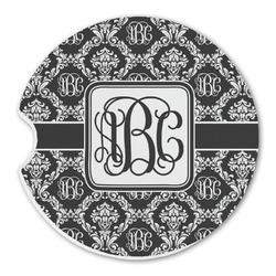 Monogrammed Damask Sandstone Car Coaster - Single (Personalized)