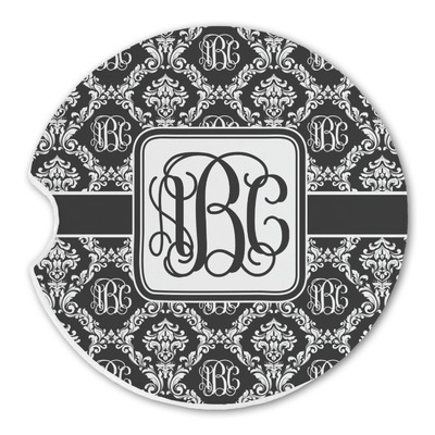 Monogrammed Damask Sandstone Car Coasters (Personalized)