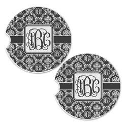 Monogrammed Damask Sandstone Car Coasters - Set of 2 (Personalized)
