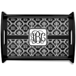 Monogrammed Damask Black Wooden Tray (Personalized)
