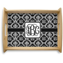 Monogrammed Damask Natural Wooden Tray - Large (Personalized)