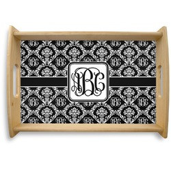 Monogrammed Damask Natural Wooden Tray (Personalized)