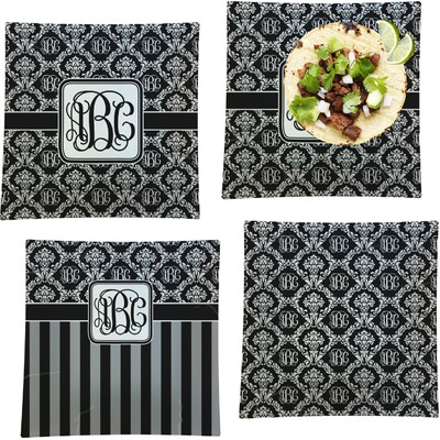 """Monogrammed Damask Set of 4 Glass Square Lunch / Dinner Plate 9.5"""" (Personalized)"""