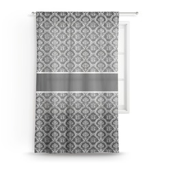 "Monogrammed Damask Sheer Curtain - 50""x84"" (Personalized)"
