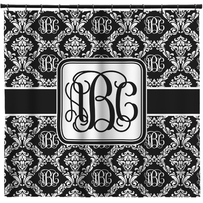 Monogrammed Damask Shower Curtain - Custom Width & Height (Personalized)