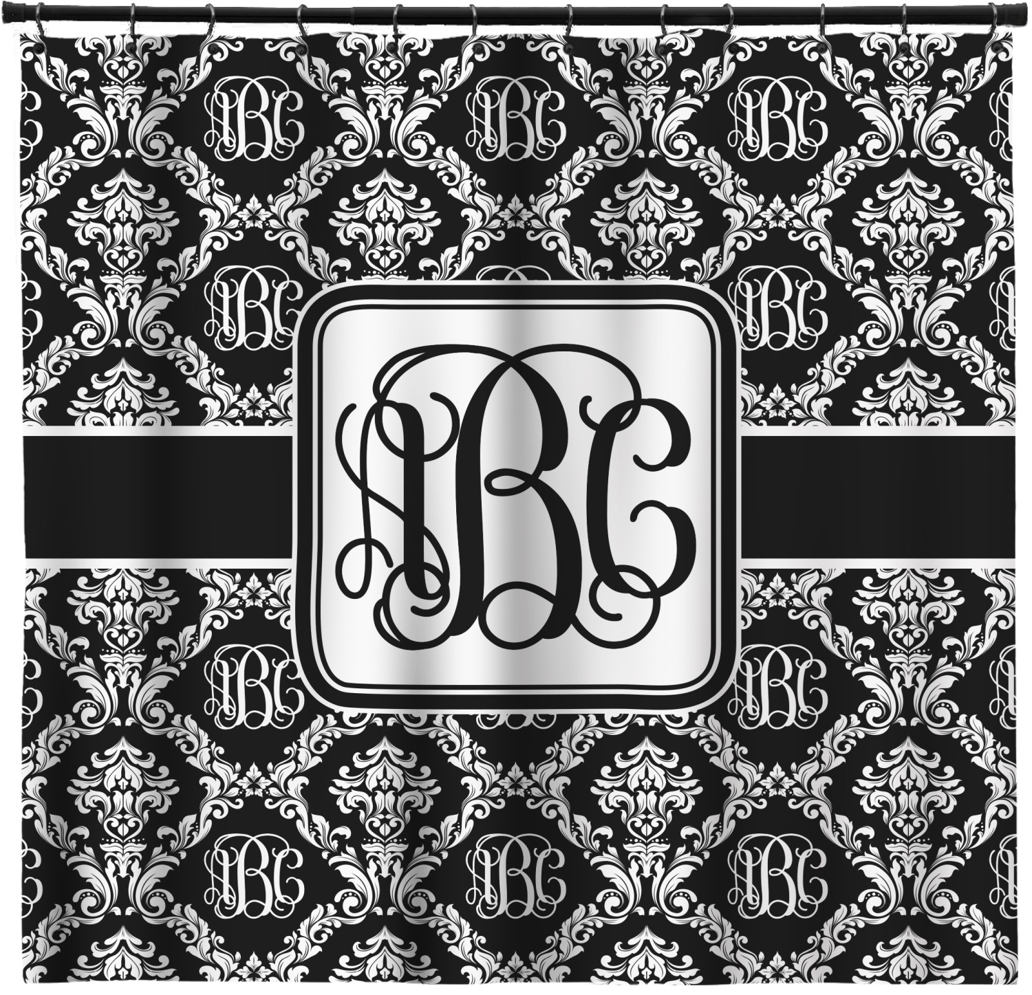 Monogrammed Damask Shower Curtain Personalized