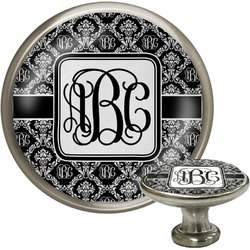 Monogrammed Damask Cabinet Knob (Silver) (Personalized)