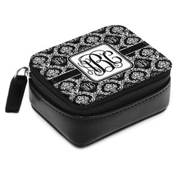 Monogrammed Damask Small Leatherette Travel Pill Case (Personalized)
