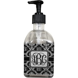 Monogrammed Damask Soap/Lotion Dispenser (Glass) (Personalized)