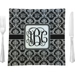 Monogrammed Damask Glass Square Lunch / Dinner Plate 9.5