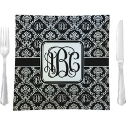 "Monogrammed Damask Glass Square Lunch / Dinner Plate 9.5"" - Single or Set of 4 (Personalized)"