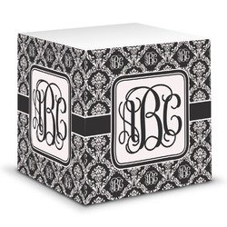 Monogrammed Damask Sticky Note Cube (Personalized)