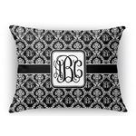 Monogrammed Damask Rectangular Throw Pillow Case (Personalized)