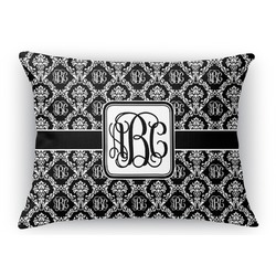 "Monogrammed Damask Rectangular Throw Pillow Case - 12""x18"" (Personalized)"